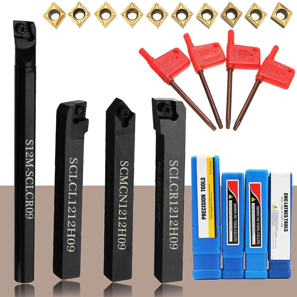 18pcs Lathe Turning Tool Set 10pcs Carbide Insert Blades + 4pcs Turning Tool Holder + 4pcs Wrench Machine Tool S12M